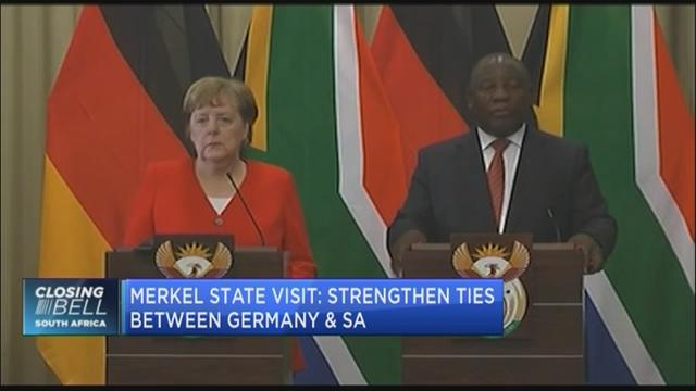 German Chancellor Angela Merkel on a state visit to SA with trade high on the agenda