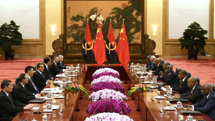 Chinese President Xi Jinping, third from left, meets with Angolan president Joao Lourenco, third from right, at the Great Hall of the People in Beijing, China on Tuesday October 9, 2018 Daisuke Suzuki/Getty Images